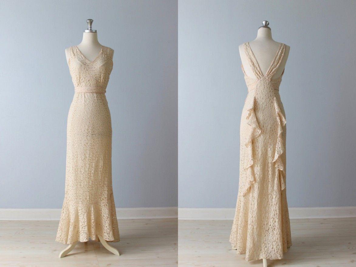 Mesmerizing 1930s Vintage Wedding Dress, Marvelous Ivory 1930s V ...