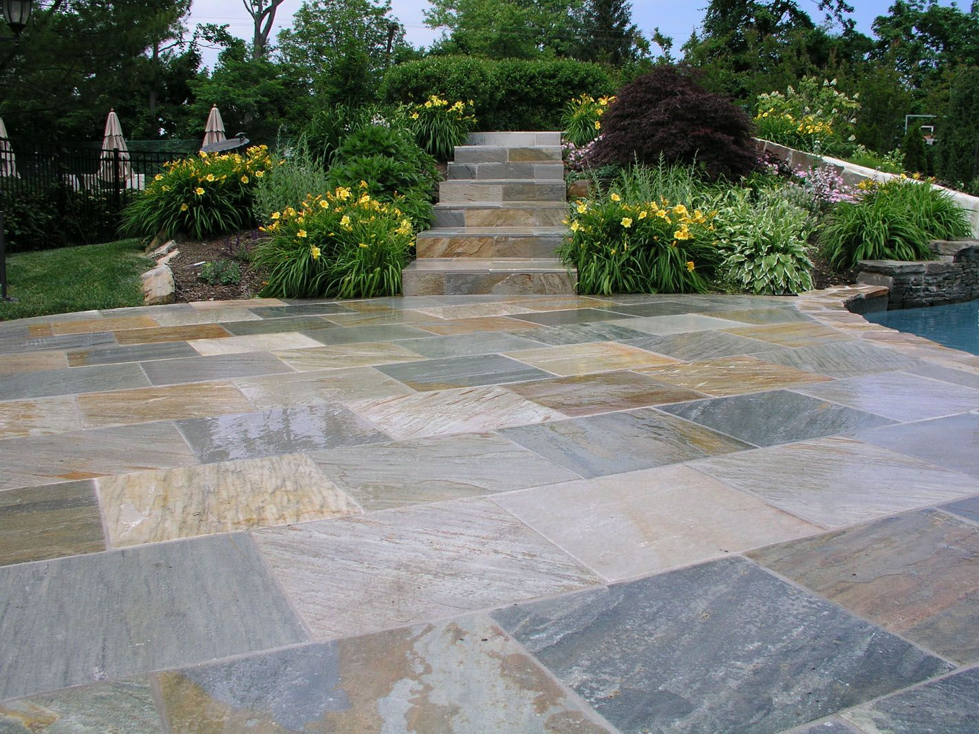 Pavers golden white curb appeal outdoor living exquisite patio recycled rubber pavers and walkway step system on random floor tile layout patterns also a lots of sun garden umbrella from light brown dailygadgetfo Gallery