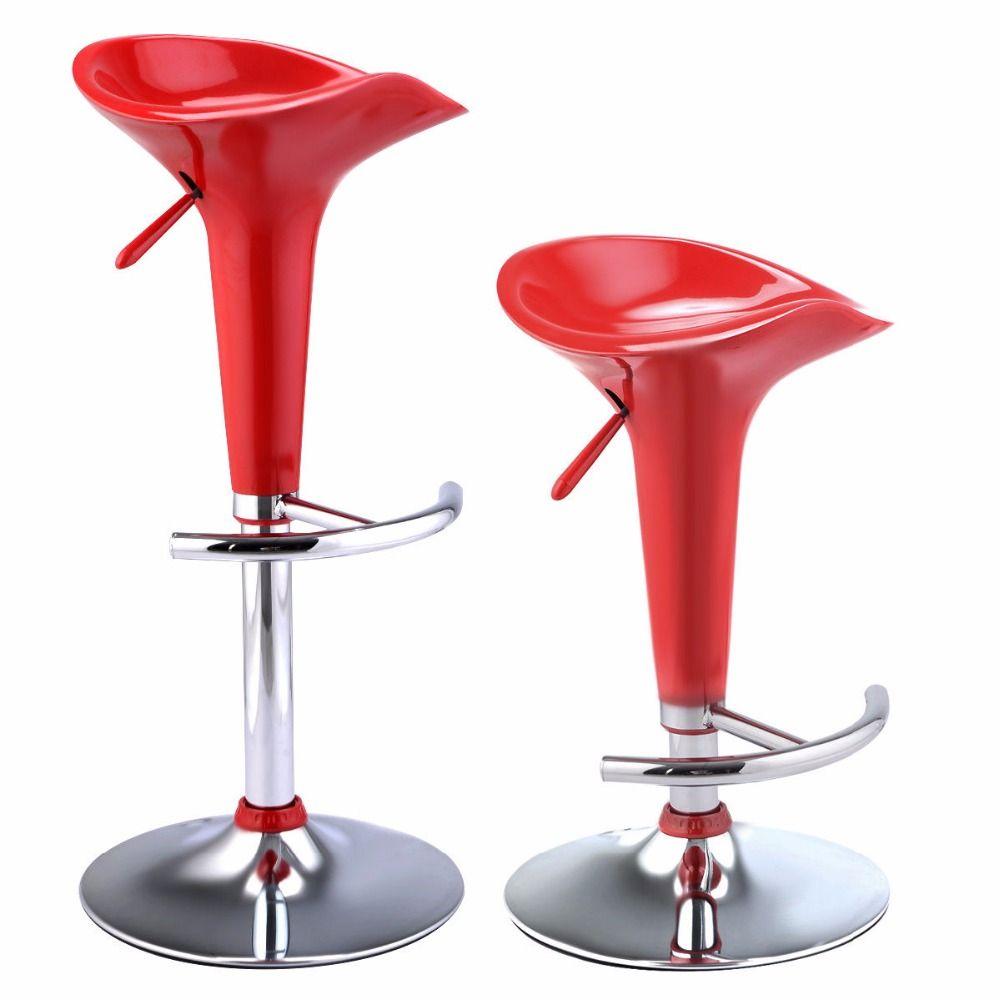 Only Us 57 99 Goplus Set Of 2 Modern Bombo Style Swivel Barstools Adjustable Counter Chair Red Black Wh Barhocker Barhocker Hohenverstellbar Moderne Barhocker