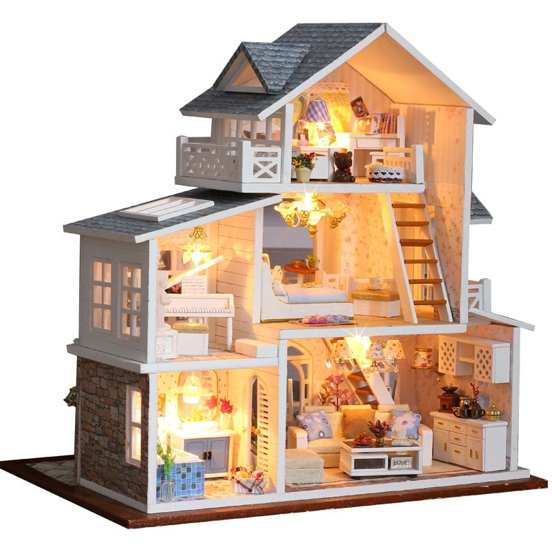 DIY 3D LED Wooden Miniature Doll House Assembly Kit Adult Kid Gift w// Dust Cover