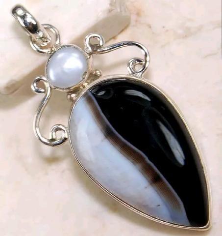 Montana Agate 925 Solid Sterling Silver Pendant - Gem Artistry, LLC