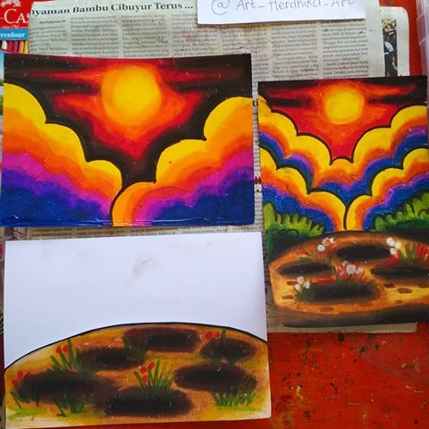Hasil Gambar Untuk Mewarnai Langit Oil Pastel For Kids Pastel