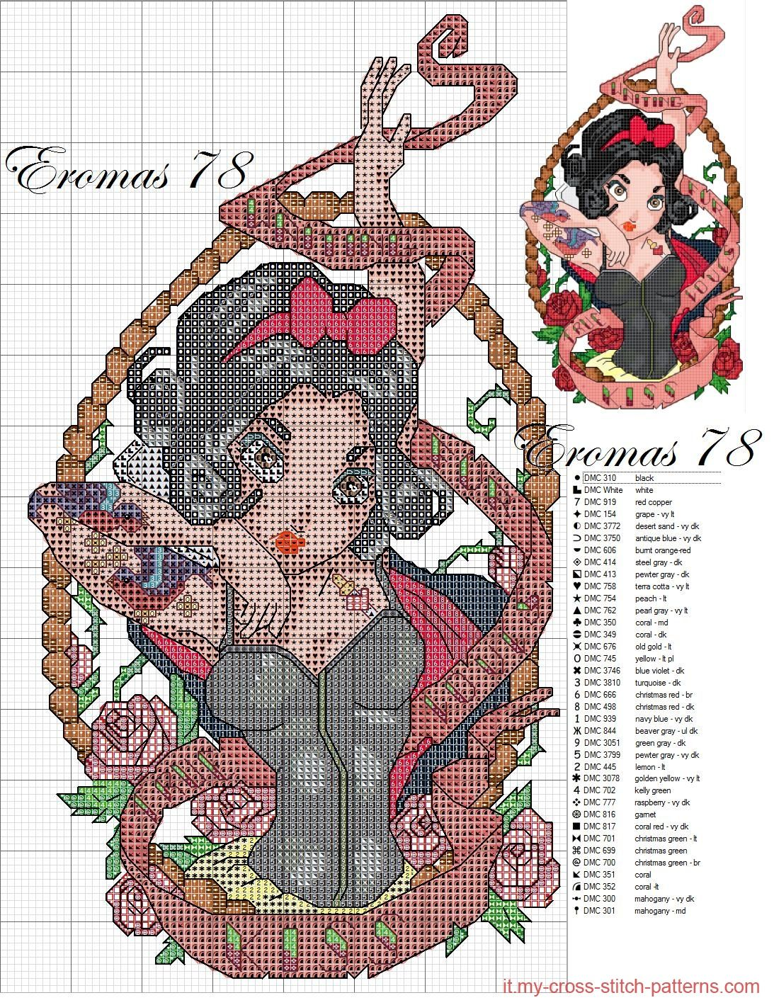Biancaneve Pin Up Вышивки Cross Stitch Disney Cross