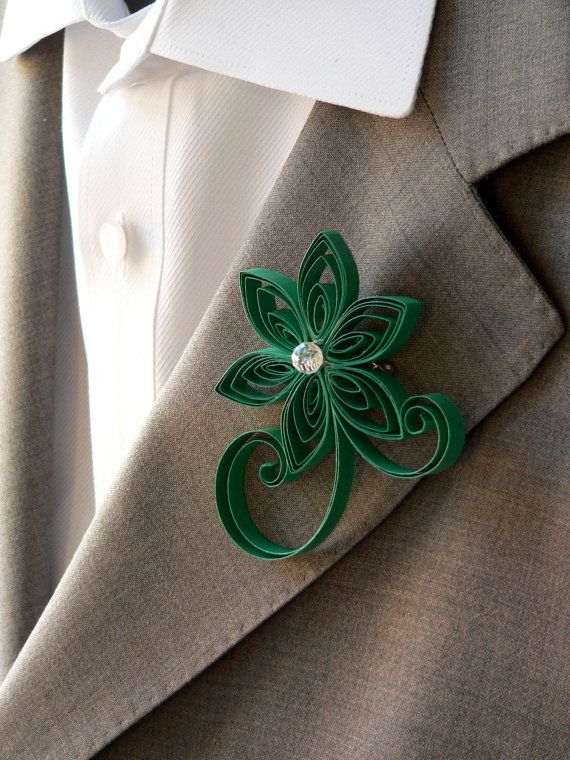 Emerald Green Boutonniere Emerald Buttonhole by MiaettiaCreations