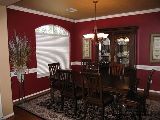 Red wall gold ceiling dining room red walls and gold for Wall colors for dark rooms
