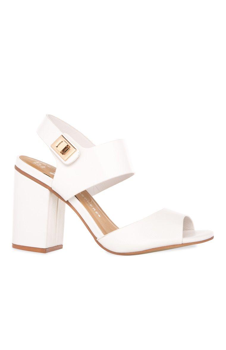 6533008b Primark - White Twist Lock Block Heel Sandal | To Walk On High Heels ...