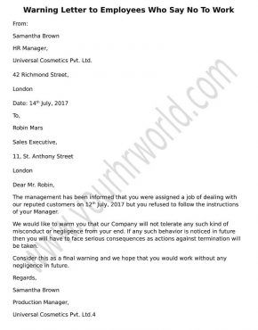 Warning letter to employees refusing to work template write a formal warning letter to employees refusing to work using the template sample to send across a final warning to those who say no to work thecheapjerseys Gallery