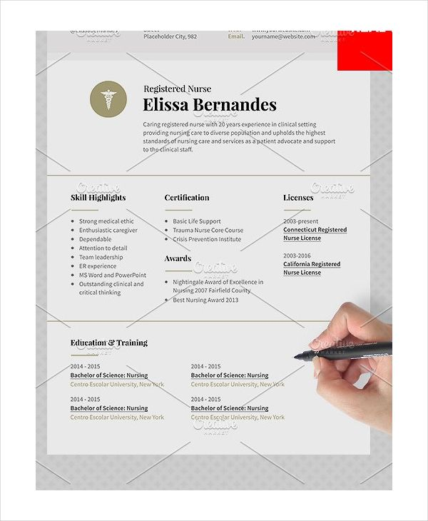 Registered Nurse Resume Sample , 12+ Nursing Resume Template - sample resume nurse