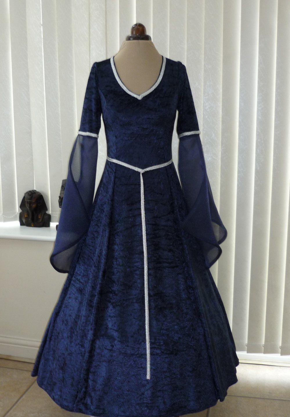 Medieval Pagan Navy Blue V Neck Wedding Dress | fashion | Pinterest ...