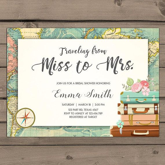 traveling from miss to mrs bridal shower invitation travel