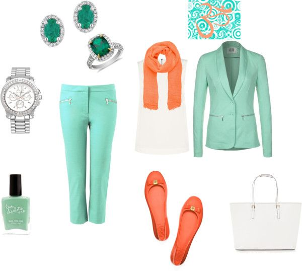 """menta y coral"" by cgmr on Polyvore"