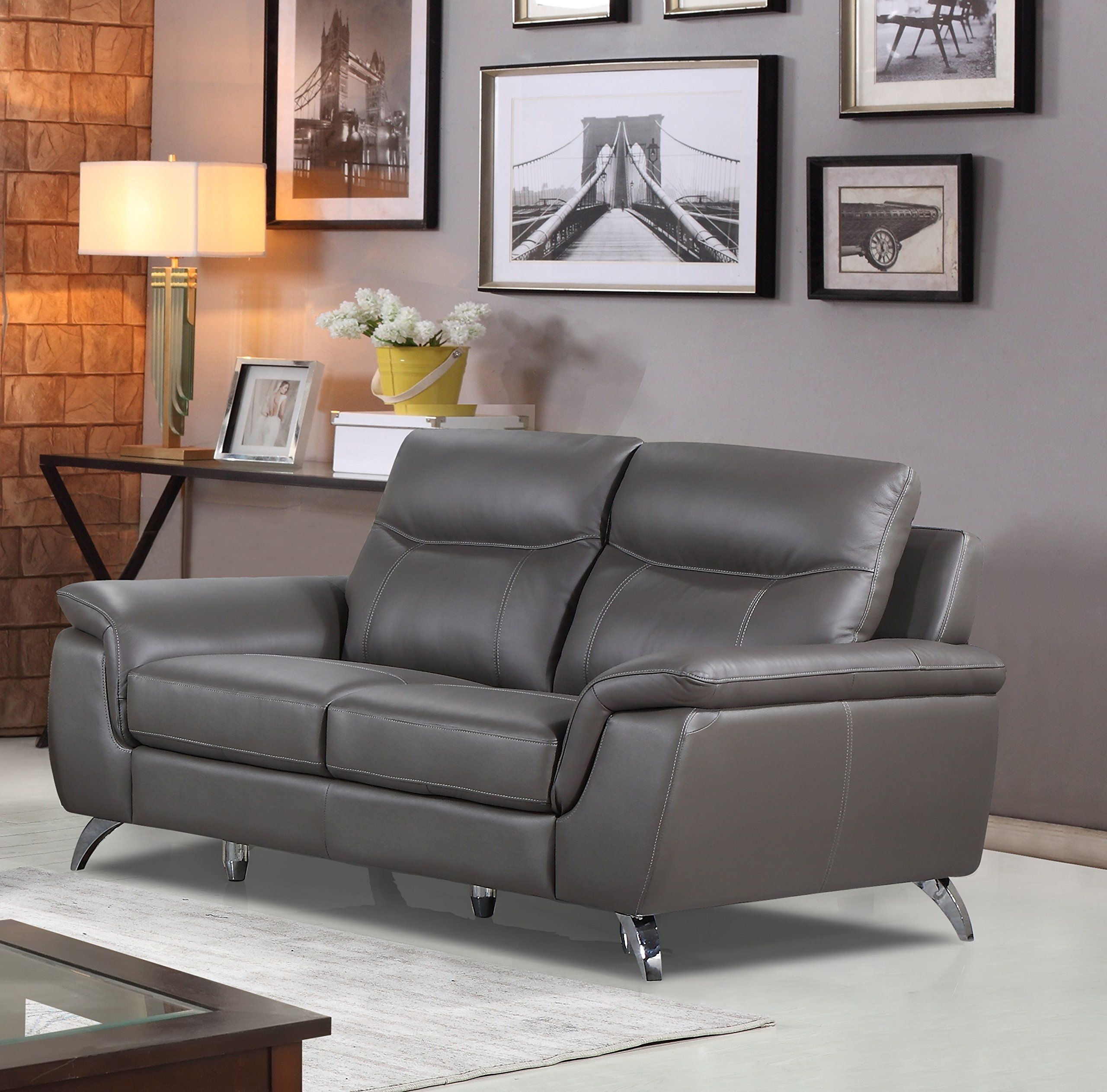 Fabulous Cortesi Home Chicago Genuine Leather Loveseat Grey Grey Unemploymentrelief Wooden Chair Designs For Living Room Unemploymentrelieforg