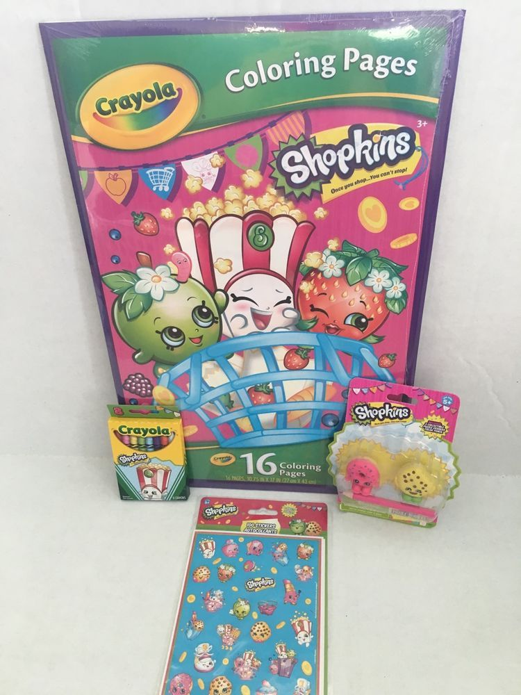 crayola shopkins giant coloring book activity set with crayons erasers stickers ebay - Giant Coloring Book