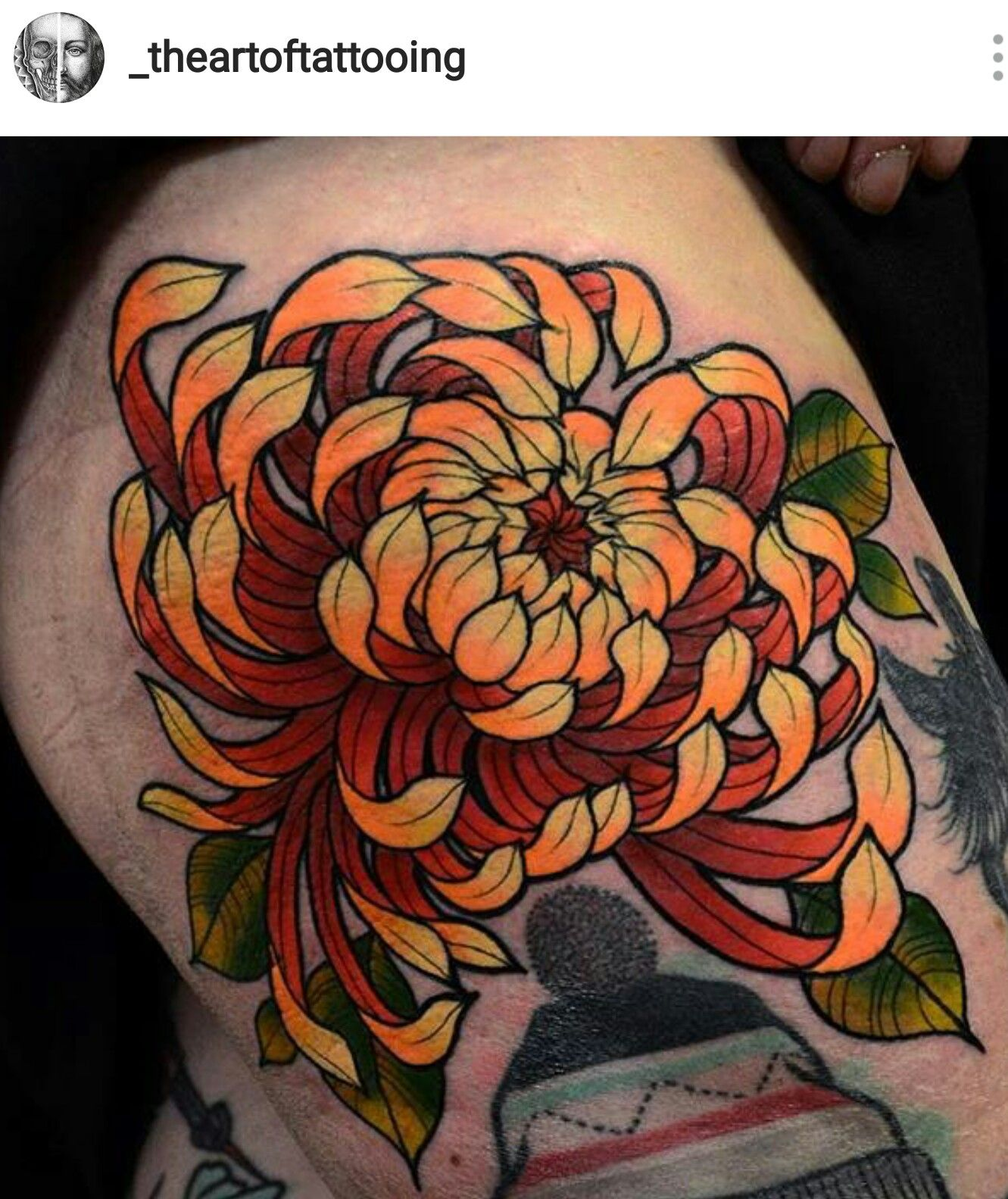 Awesome orange & yellow Chrysanthemum tattoo, Tattoos