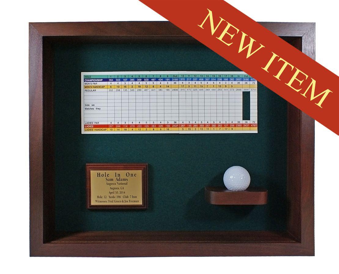Hole In One Ball Scorecard Shadow Box Display Cherry