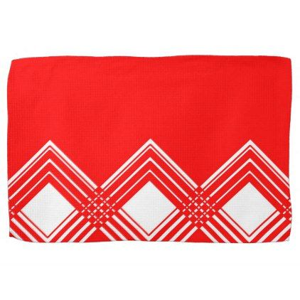 Abstract Geometric Pattern Red And White Towel Zazzle Com