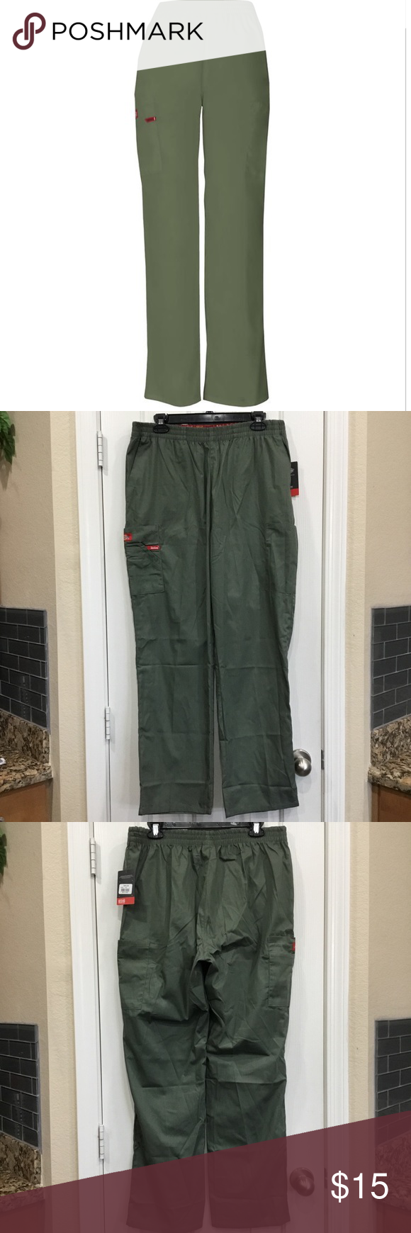 35b603bf16 Dickies Missy Fit Pull-on Cargo Scrub Pants A Missy fit, natural rise,  tapered leg, pull-on pant features an all around elastic waistband with  Dickies logo ...