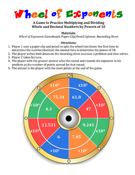 Wheel Of Exponents A Game To Practice Multiplying And Dividing By