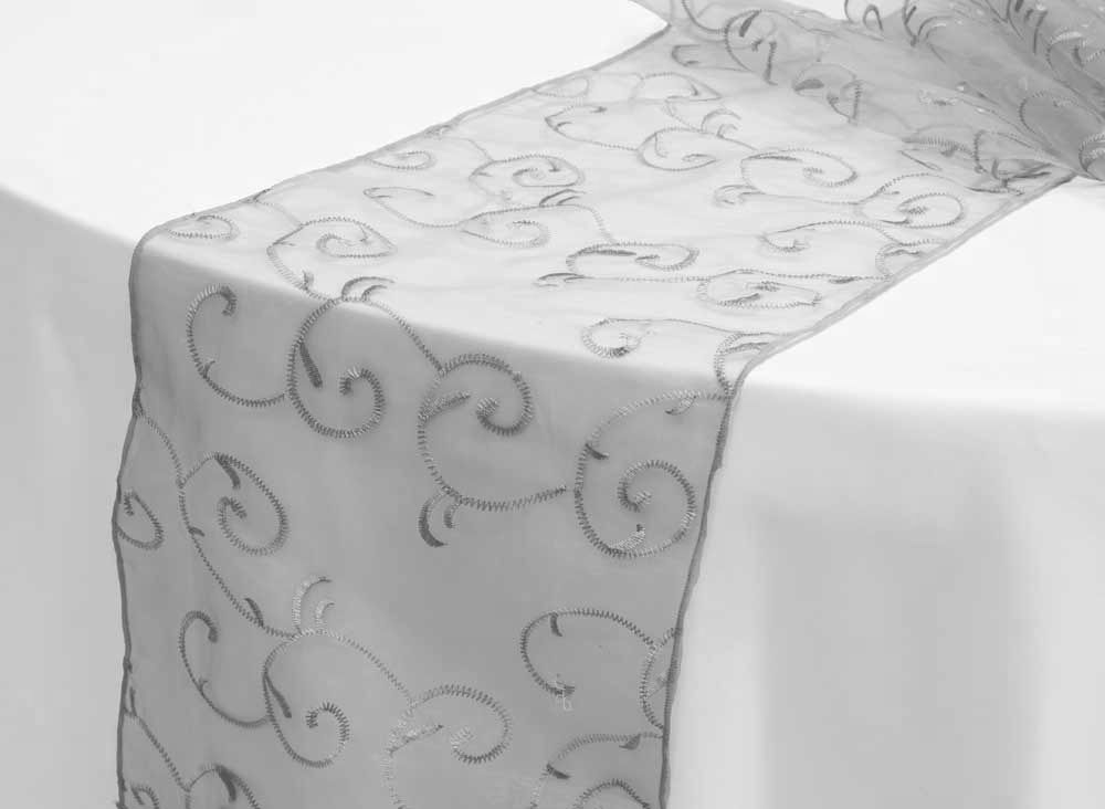 Swirl Embroidery Table Runner (NO SATIN TRIMS)   Silver ○ As Low As $2.19