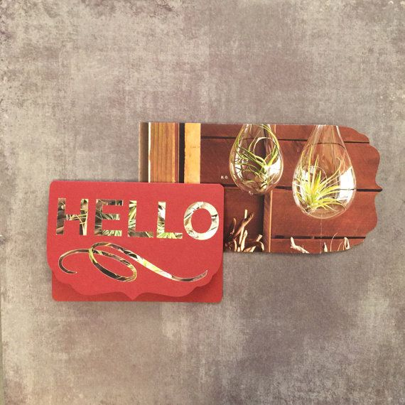 upcycled hello card  handmade envelope