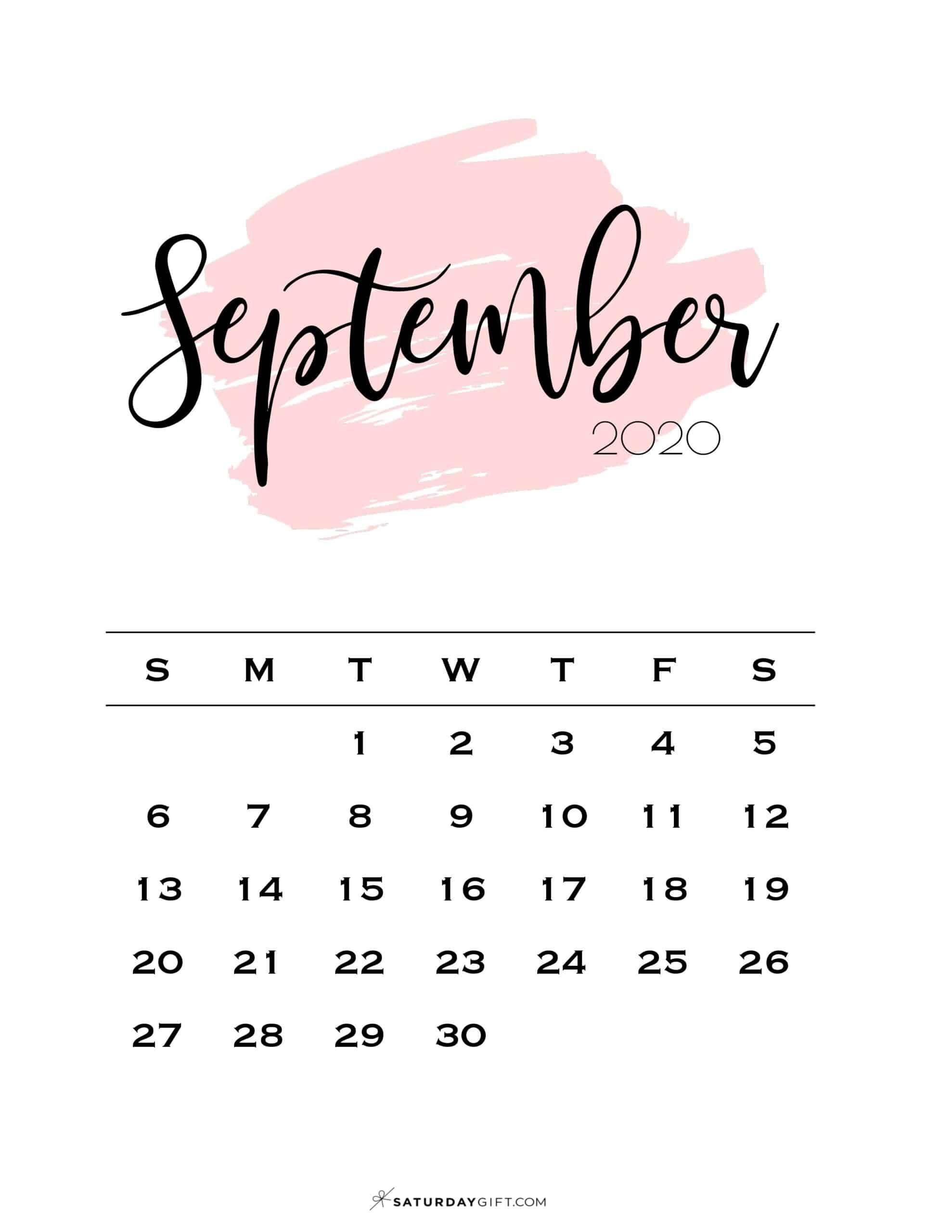Cute Free Printable September 2020 Calendar Saturdaygift In 2020 Free Calendar Template Free Calendar Print Calendar