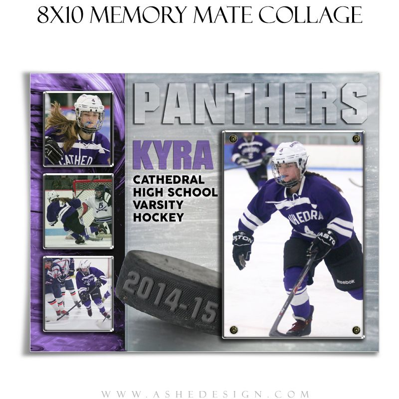 Use our new Ice Hockey Memory Mate Collage Templates with all of your sports images. These Memory Mate designs will work for any sport. Each Photoshop file can be completely customized with sport element, school or team colors. We offer a complete line of creative sports designs for everyone.