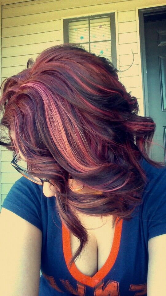 Orchid Red With Violet And Pink Highlights Pravana Vivids Hair