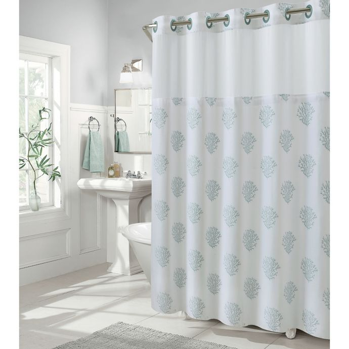 Hookless Coral Reef Shower Curtain In Grey Mist Hookless Shower Curtain Striped Shower Curtains Bathroom Decor Colors