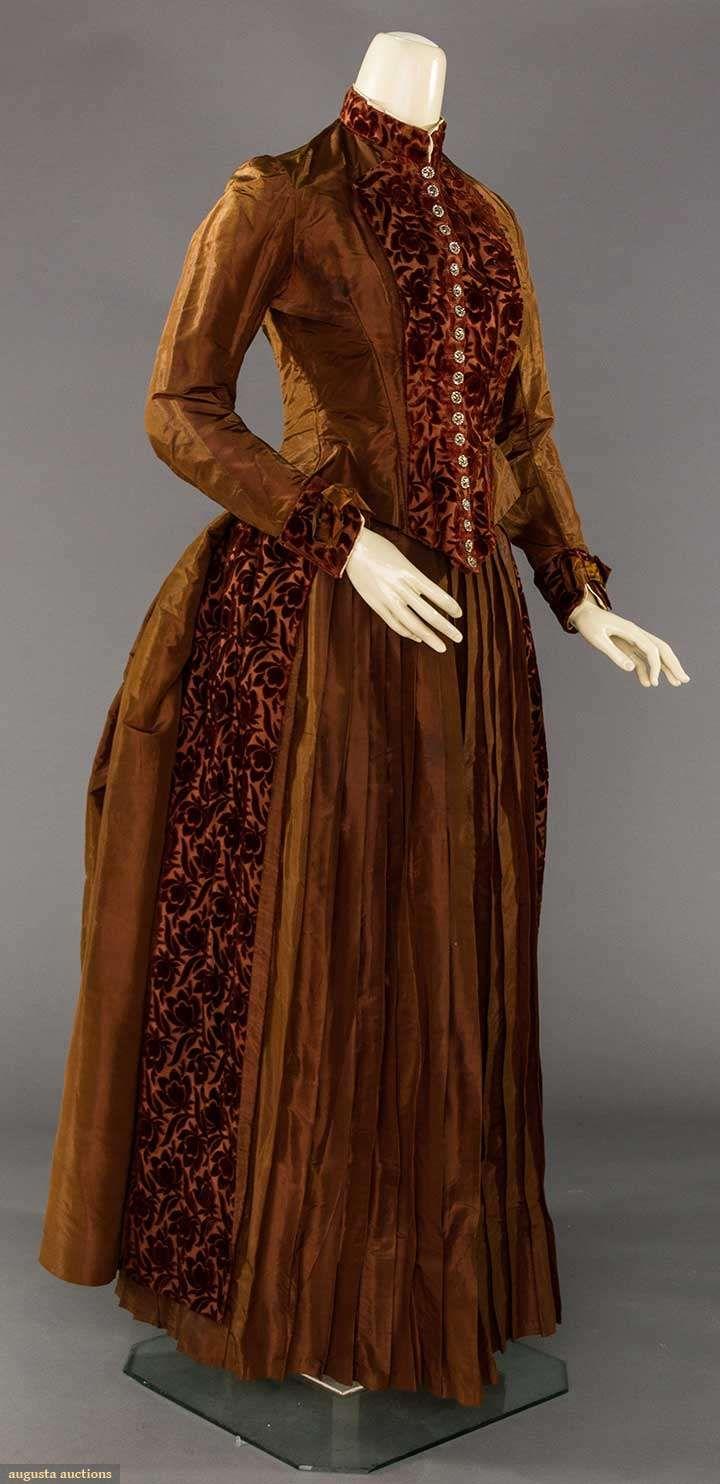 S maroon cut velvet u brown faille piece bustle dress boned