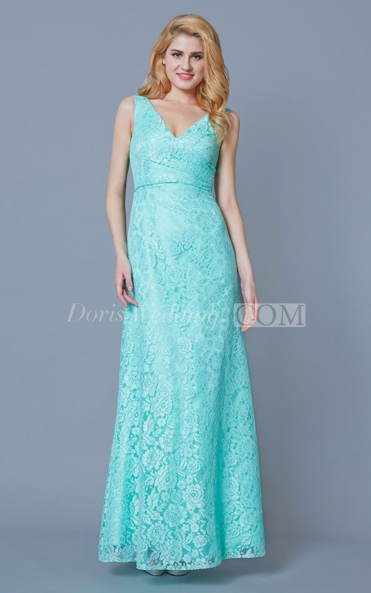 Form Fitted Sleeveless Long Lace Dress With Ruching | Lace dress ...