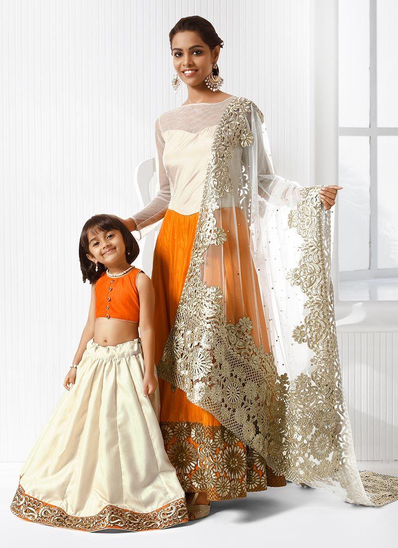 Cbazar Orange Art Silk Embroidered Mother Daughter Combo