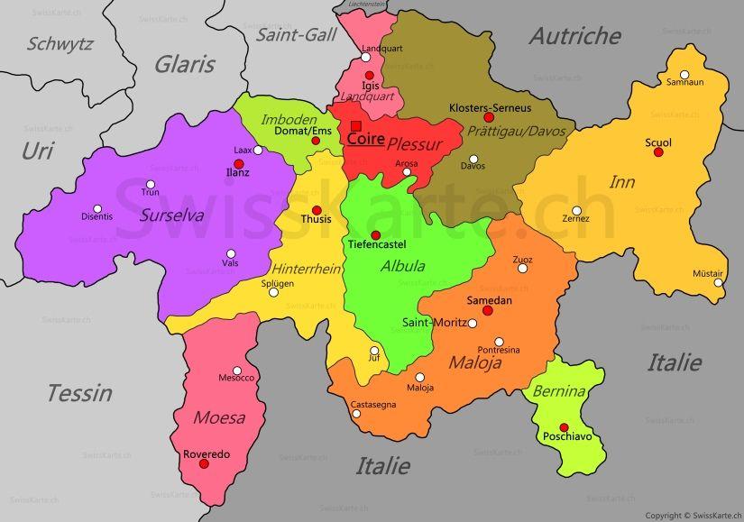 Carte du canton des Grisons CH Pinterest