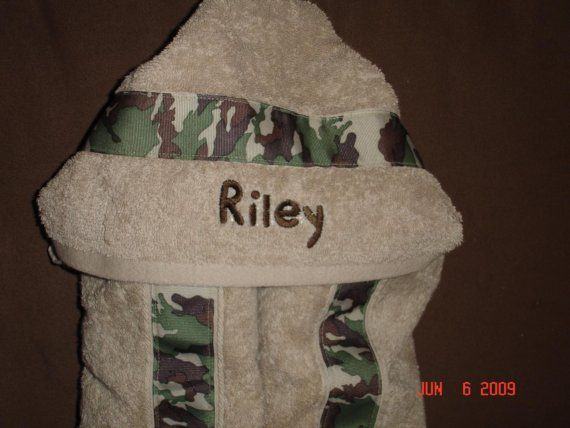 Custom Camo Hooded Towel by tntbabyboutique on Etsy, $30.00