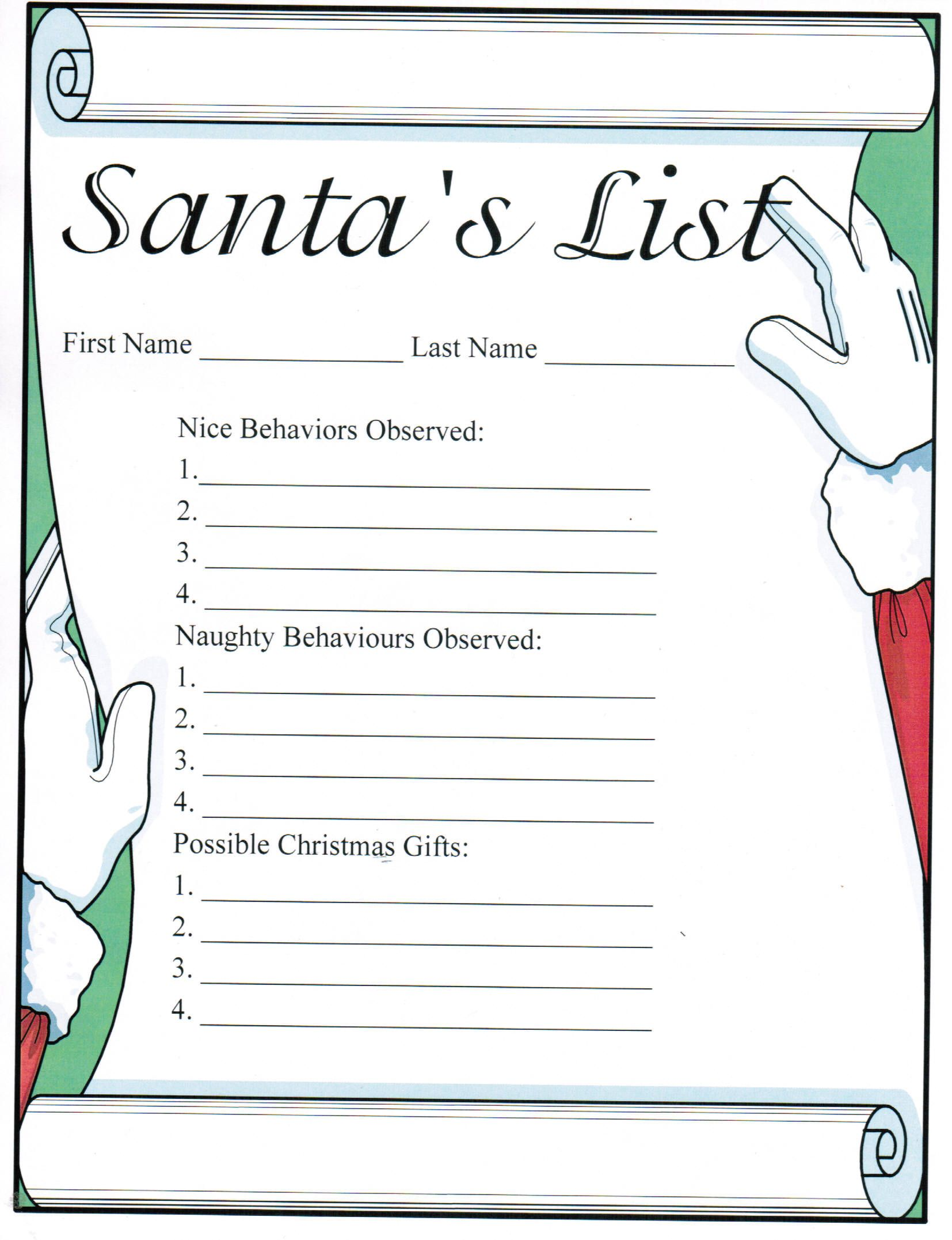 Santa S Wish List Free Printables