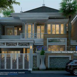 tampak depan desain rumah klasik modern - denah rumah