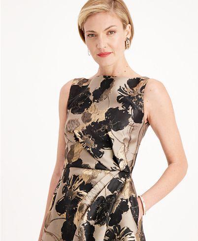 Adrianna Papell Floral-Print Metallic A-Line Dress ...