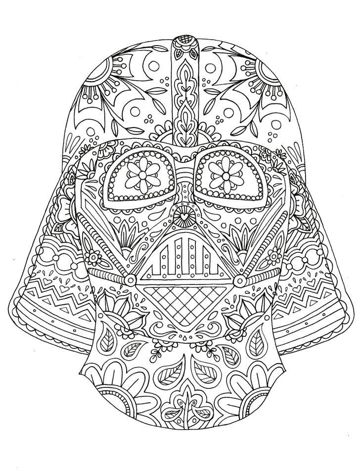 Darth vader coloring page star wars mexican skull for Mexican coloring pages for adults
