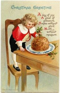 vintage Christmas postcard, Ellen Clapsaddle, Christmas boy, Victorian Clapsaddle child, Christmas pudding