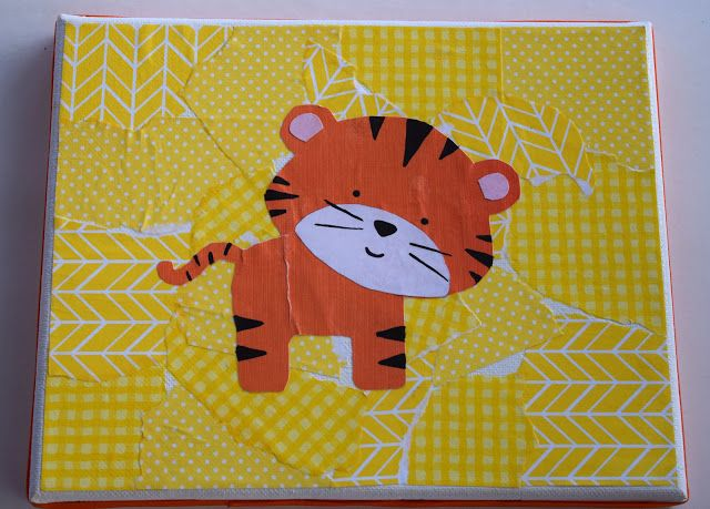 Scrapbook Paper Collage Canvas Art Hippo And Tiger Great Kids