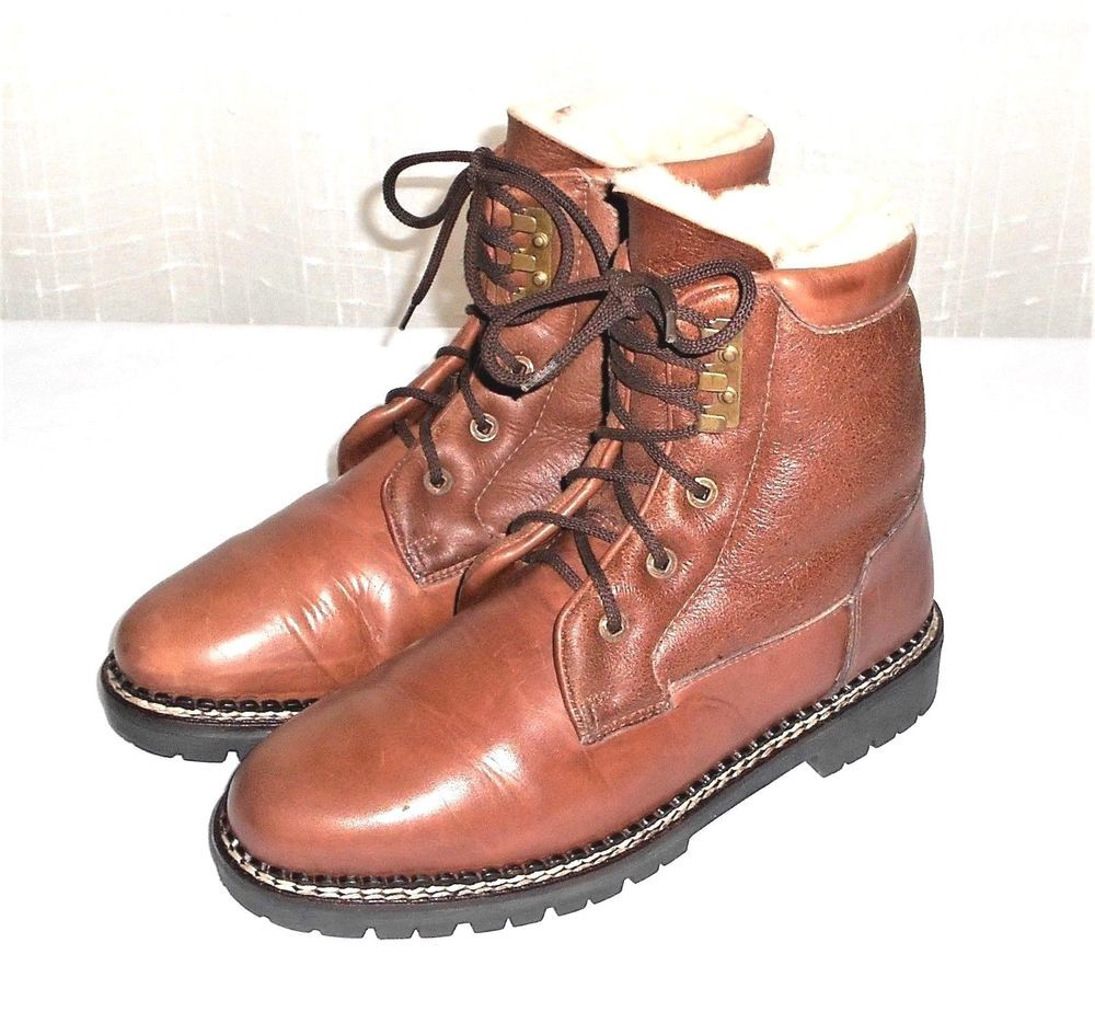 L L Bean Men's 8.5 E Leather Sherpa Lined Lace Up Ankle