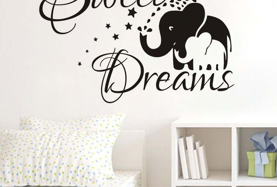 Elephant Mom And Kids Wall Decal Sweet Dream Quote Sticker Home Decor Vinyl  Art