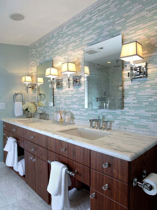 nothing but the idea of horizontal glass tiles behind mirrors - Glass Tile Backsplash In Bathroom