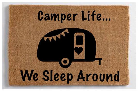 Personalized Camper Door Mat Customized We Sleep Around