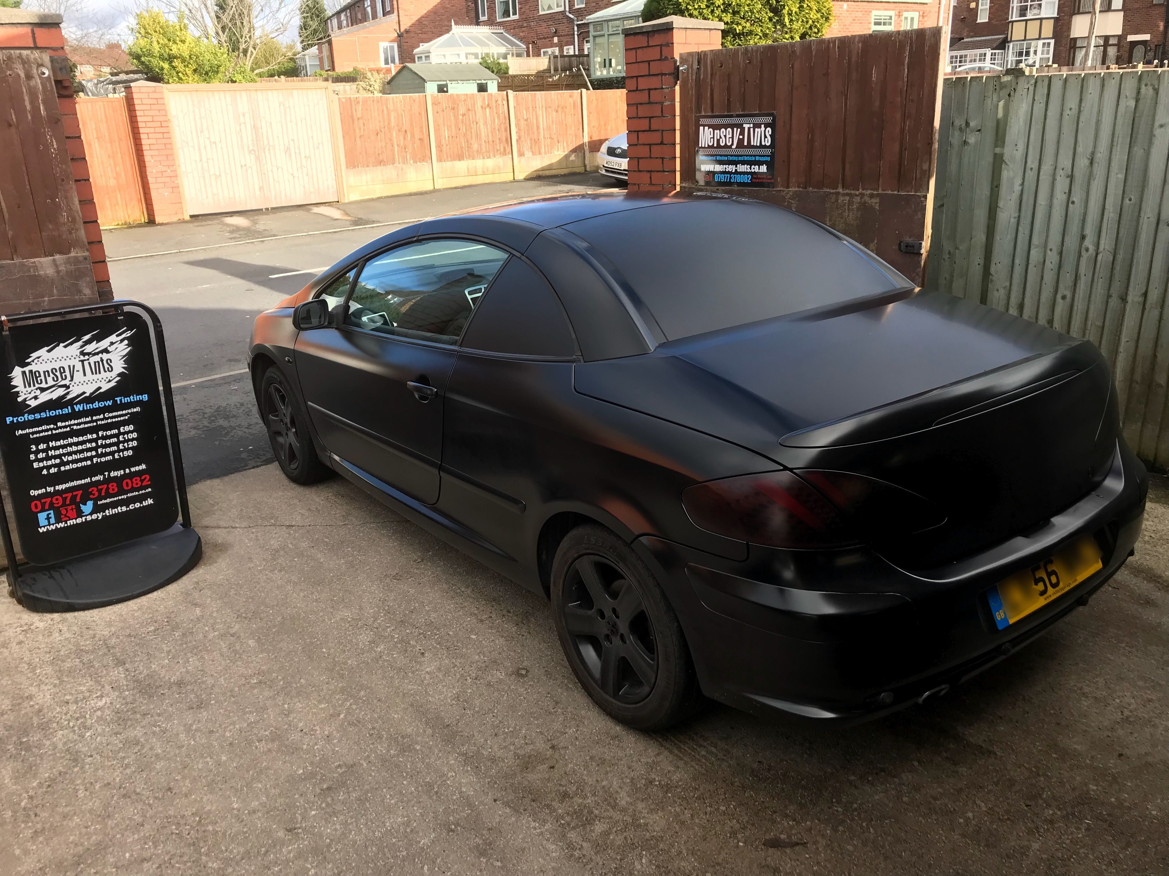 Lol We Had Chris With His 2006 Peugeot 307cc In This Afternoon For Matt Black Window Wrap Lol Christ I Ve Seen It All Now Lmao Merseytints Kpmf Peugeo
