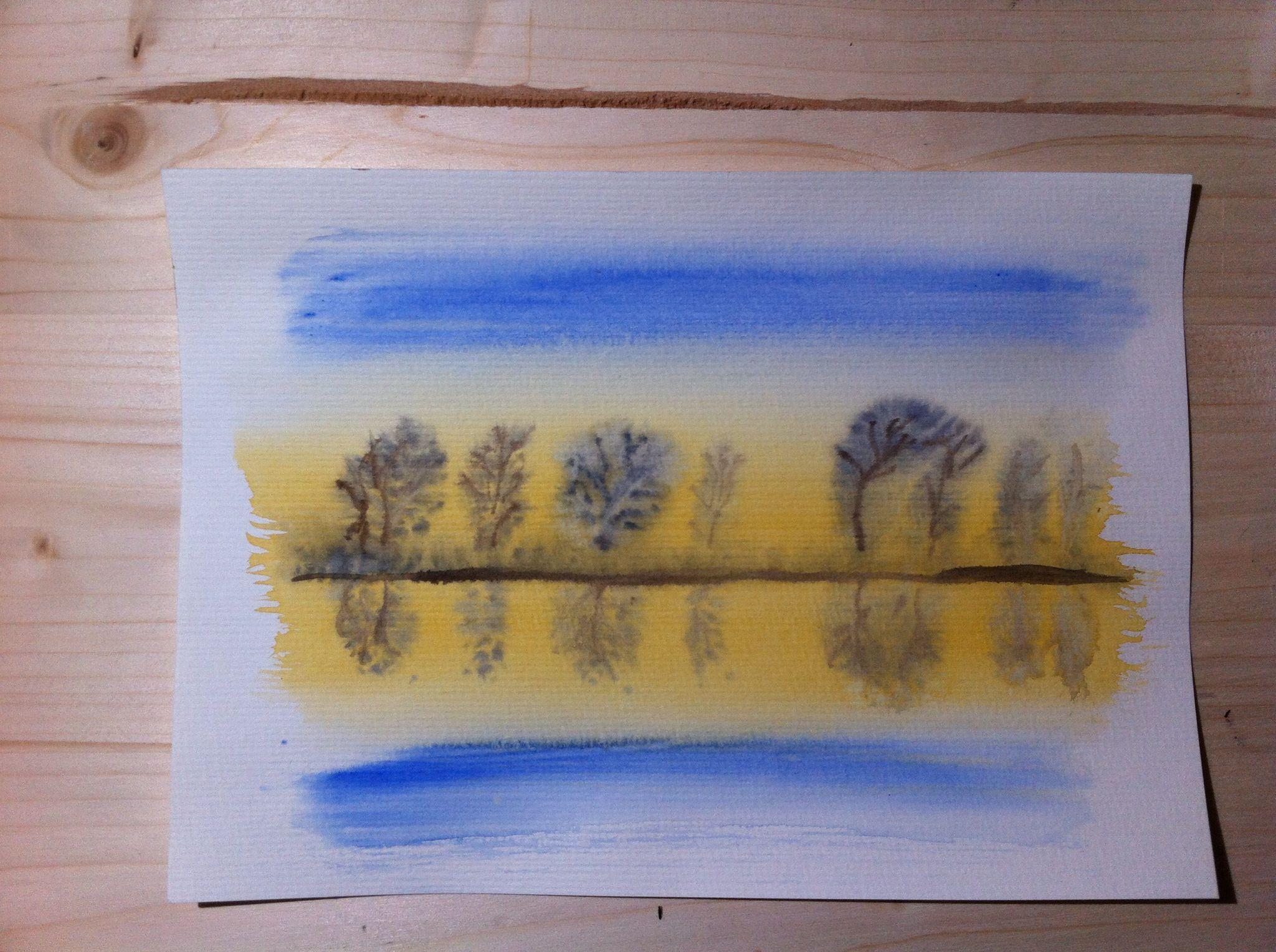 Aquarell-Skizze - am Fluß