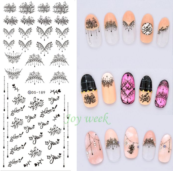 US $0.49 Water Transfer Nails Art Sticker lace leaf love you Nail ...