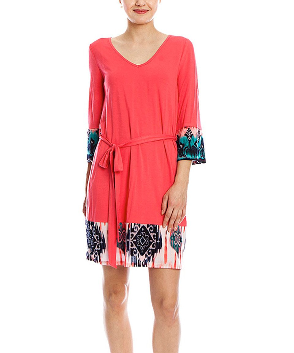 Another great find on #zulily! Fuchsia & Teal Ikat Tie-Waist Shift Dress by Hello Miss #zulilyfinds