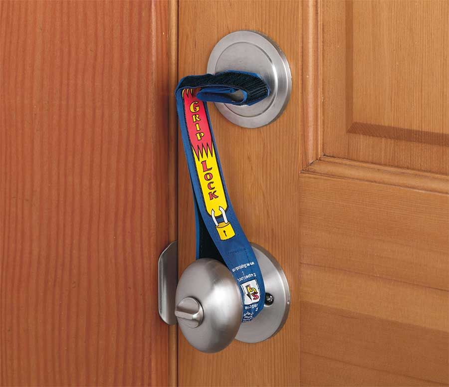 The Super Grip Lock Deadbolt Strap Is A Strap Of Fabric That You Can Attach To Your Deadbolt And Doorknob So That The In 2020 Home Security Cool Stuff Household Hacks