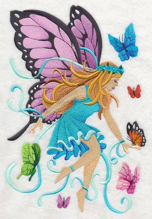 Lady Of The Butterflies Embroidery Library Machine Embroidery