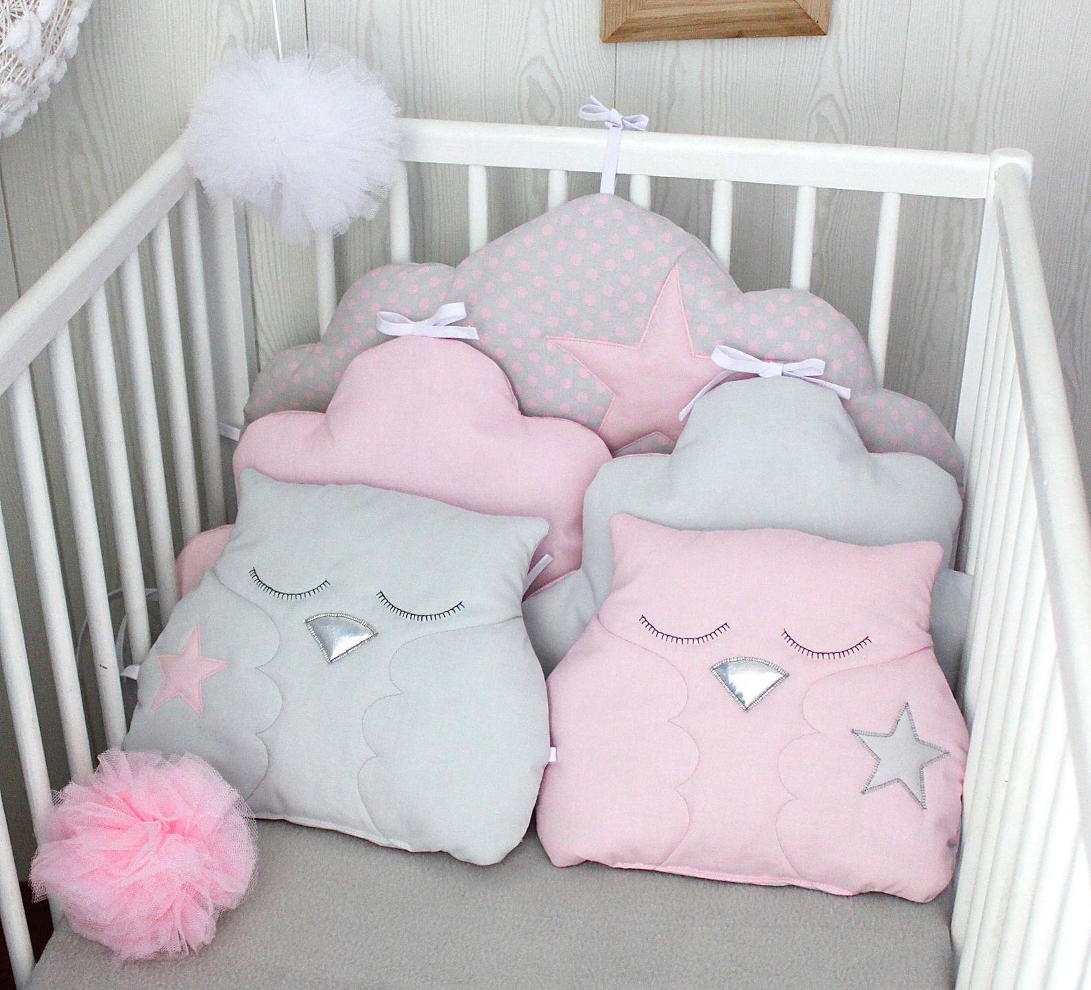 Tour de lit bébé fille, nuage et hiboux, rose dragée et gris perle ...